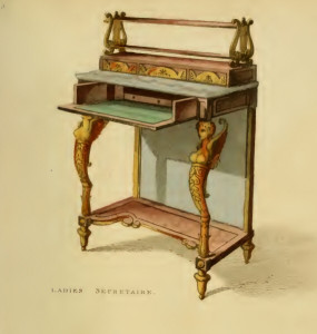 The fashionable authoress might have penned her works at a secretaire similar to this one. Image: Ackermann's Repository